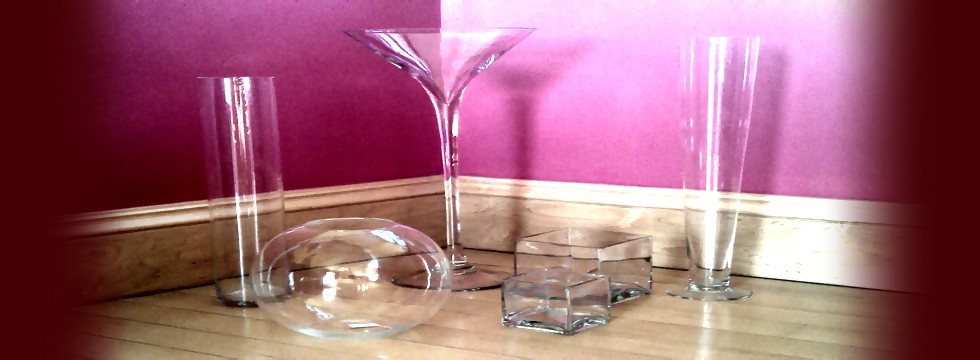 Glassware to hire from A Way with Flowers covering Pembrokeshire