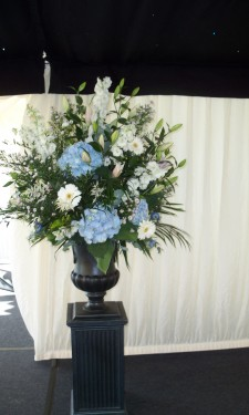 Large urn arrangement with Hydrangea, gerbera, astilbe, lily and September flower