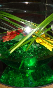 Goldfish bowl with red & yellow gerbera and bear grass in green crystal gel