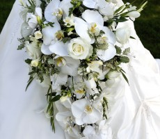 Phalaenopsis orchid shower bouquet with rose, singapore orchid, fressia and crystal inserts