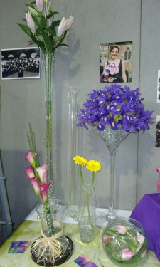 Iris in a martini vase, lilies in a lily vase and calla lily bouquet