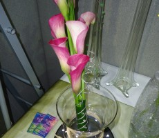 Pink calla lily sheaf style bouquet with silver wire detail