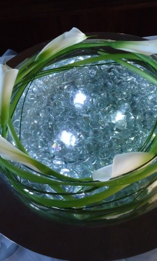 Calla lilies and steel grass with lights & clear nuggets