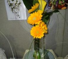 Yellow gerbera sheaf style bouquet