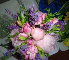 Hand tied pink peony, freesia, and purple lavendar and freesia