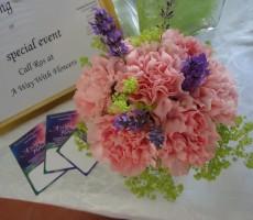 Hand tied pink carnations, purple lavendar and alchemilla mollis