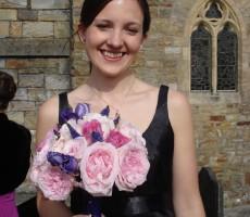 Hand tied David Austen roses, purple veronica and purple lizianthus