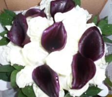 Dark calla and ivory rose hand tied bouquet