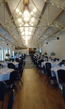 Tables laid for a reception at Crug Glas