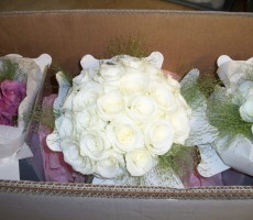 Ivory roses with fountain grass