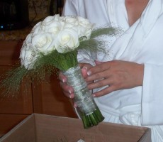 Ivory roses with panecetum grass and organza ribbon and pearl pins