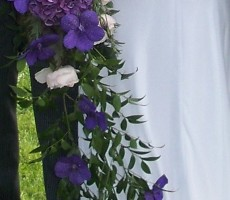Trailing shower bouquet with roses, hydrangea and soft ruscus
