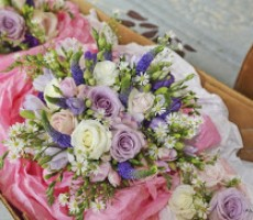 Soft pinks and purple vintage looking bouquets